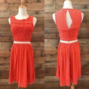 Anthropologie Postmark Orange Polka Dot Dress